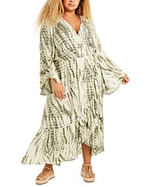 Trendy Plus Size Tie-Dyed Wrap Maxi Dress