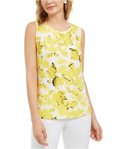 Kasper Monet Floral-Print Twist-Neckband Top