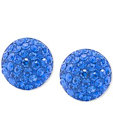 Blue Crystal Button Stud Earrings in Sterling Silver