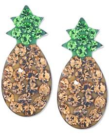 Crystal Pineapple Stud Earrings in Sterling Silver