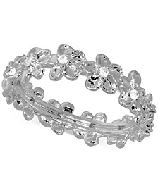 Cubic Zirconia Flower Band in Fine Silver-Plate