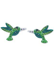 Crystal Hummingbird Stud Earrings in Sterling Silver