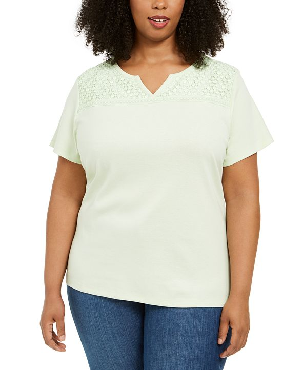 Karen Scott Plus Size Crochet-Yoke Top, Created for Macy's