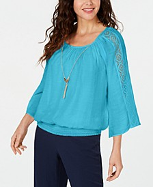 Petite Textured Crochet Necklace Top, Created for Macy's