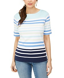 Striped Elbow-Sleeve Boat-Neck Top, Created for Macy's
