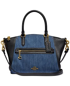 Denim & Leather Blocked Elise Satchel