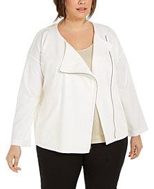Eileen Fisher Plus Size Asymmetrical-Zip Jacket