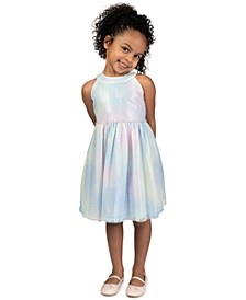 Toddler Girls Rainbow Lace Metallic Dress