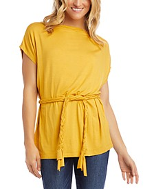 Tie-Waist Drop-Shoulder Top