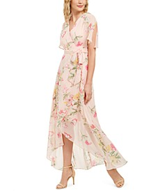 Petite Split-Sleeve Chiffon Maxi Dress