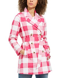 Petite Gingham Cotton Trench Coat, Created for Macy's