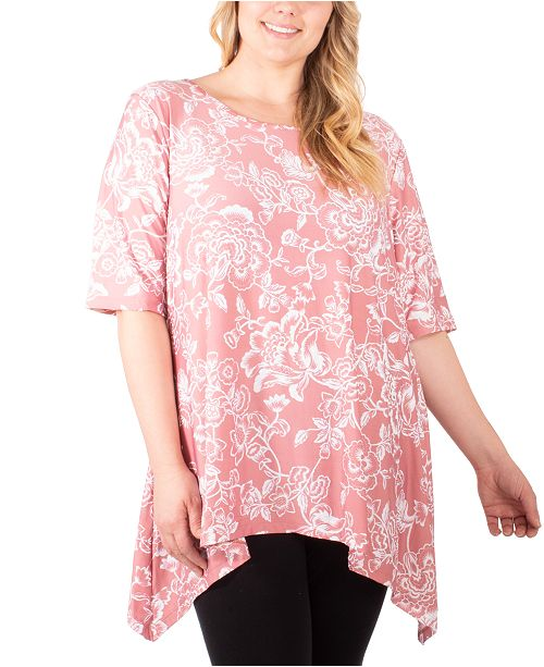 NY Collection Plus Size Puff-Print Sharkbite T-Shirt