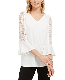 Crochet-Sleeve V-Neck Knit Top