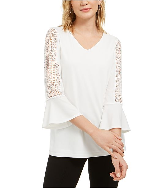 Kasper Crochet-Sleeve V-Neck Knit Top