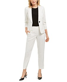 Striped Blazer, Scalloped-Trim Top & Straight-Leg Dress Pants
