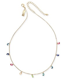 "INC Gold-Tone Crystal Rainbow Shaky Statement Necklace, 16"" + 3"" extender, Created for Macy's"
