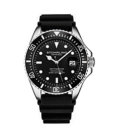 Men's Black Silicone Rubber Strap Watch 42mm