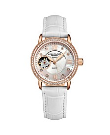 Women's White Leather Strap Watch 34mm