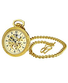 Women's Gold Tone Stainless Steel Chain Pocket Watch 48mm