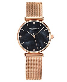 Women's Rose Gold Mesh Stainless Steel Bracelet Watch 32mm