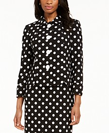Polka Dot Crepe 4-Button Jacket