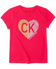 Big Girls Cotton Flip-Sequin Heart T-Shirt