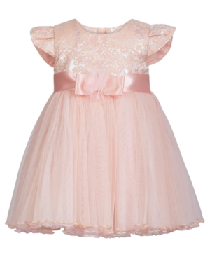 Bonnie Baby Baby Girls Jacquard Mesh Dress