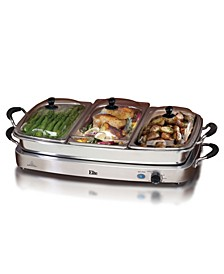 Elite Platinum Deluxe 3 x 2.5 Qt. Stainless Steel Electric Buffet Server