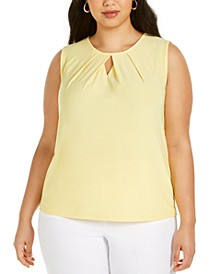 Plus-Size Diamond-Neck Sleeveless Top