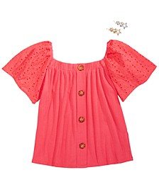 Big Girls Eyelet-Sleeve Top & Star Barrettes Set