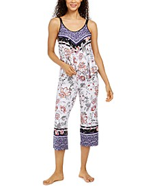 Mixed-Print Cropped Pajama Set