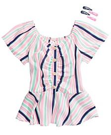 Big Girls Striped Button Top & Barrettes Set