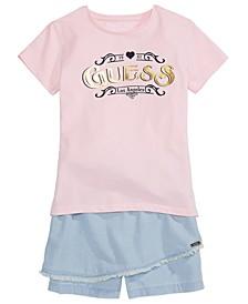 Big Girls Logo T-Shirt and Wrap Skort Separates