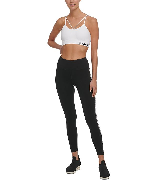 DKNY Sport Printed-Stripe High-Waist Leggings