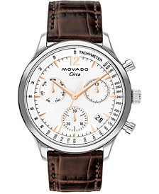 Men's Swiss Chronograph Circa Heritage Brown Croco Leather Strap Watch 43mm