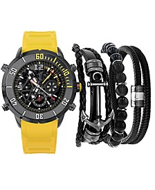 Men's Yellow Strap Watch 40mm Gift Set