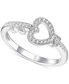 Diamond Heart & Key Ring (1/6 ct. t.w.) in Sterling Silver