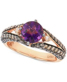 Grape Amethyst (1-1/3 ct. t.w.) & Diamond (9/10 ct. t.w.) Ring in 14k Rose Gold