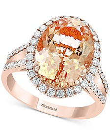 EFFY® Morganite (5-5/8 ct. t.w.) & Diamond (1/2 ct. t.w.) Oval Ring in 14k Rose Gold