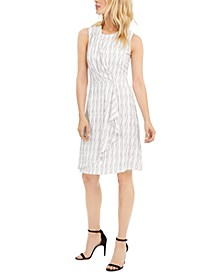 Striped Wrap-Style A-Line Dress