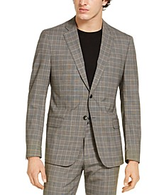 Armani Exchange Men's Modern-Fit Tan Glen Plaid Suit Jacket, Created for Macy's