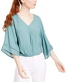 Juniors' Clip-Dot Wrap Top