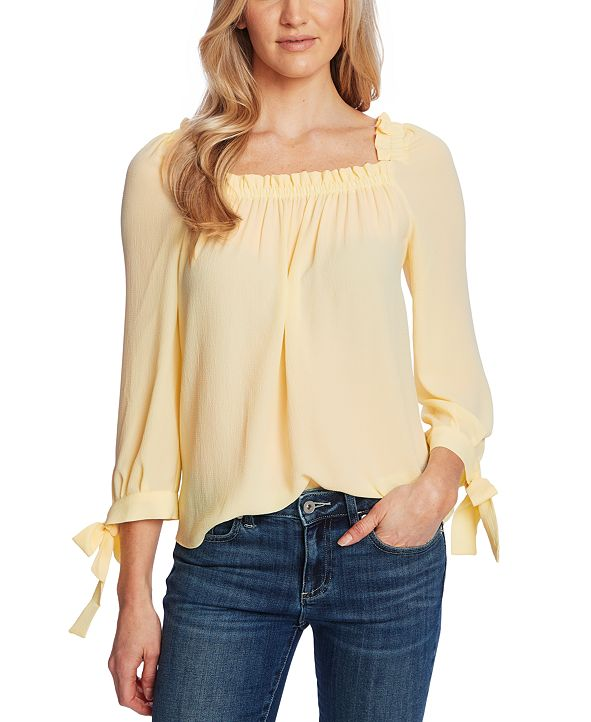 CeCe Ruched-Neck Tie-Sleeve Top