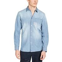 Sun + Stone Men's Embroidered Denim Shirt