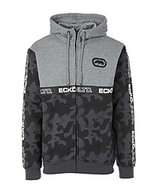 Men's Spray Camo Printed Full Zip Hoodie