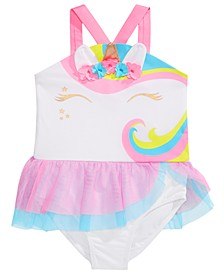 Little Girls 1-Pc. Unicorn Tutu Swimsuit