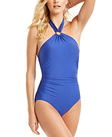 Ring Halter Shirred One-Piece Swimsuit, Created for Macy's