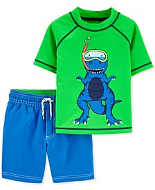 Baby Boys 2-Pc. UPF 50+ Color-Changing Dino Rash Guard & Board Shorts Set