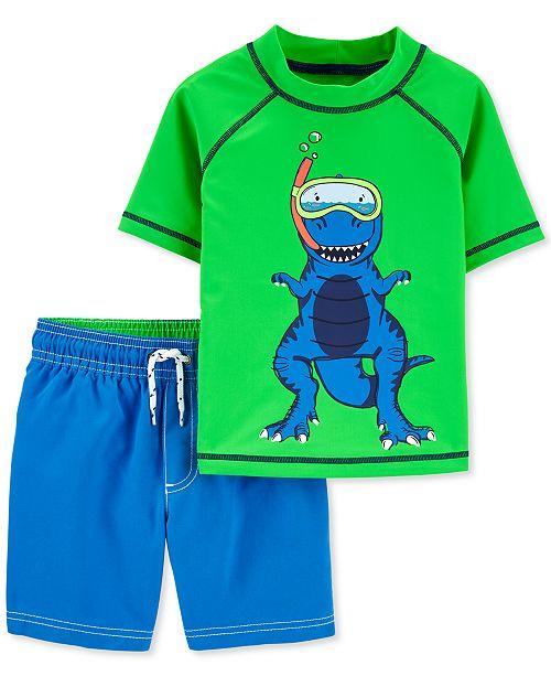 Carter's Baby Boys 2-Pc. UPF 50+ Color-Changing Dino Rash Guard & Board Shorts Set