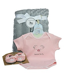 3 Stories Baby Boys and Girls 3-Piece Trading Piggy Bodysuit, Slipper and Blankie Gift Set